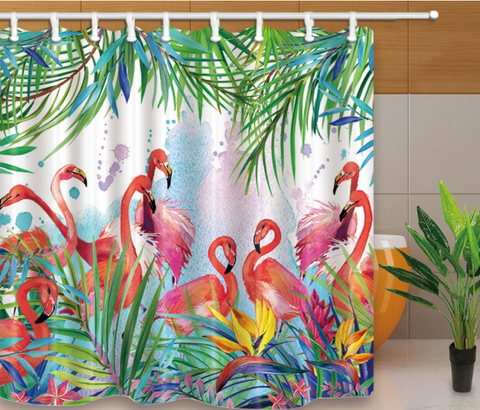 flamingo shower curtin