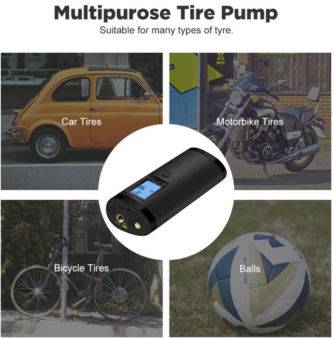 Xmund XD-BP4 3 in 1 LCD Display Car Pump Motorcycle Bike Truck Bicycle USB Rechargeable Electric Auto Pump for Travel Mini Air Pump