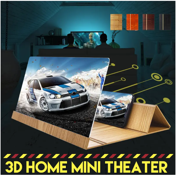 3D Phone Screen Magnifier Stereoscopic Amplifying 12 Inch Desktop Wood Bracket Phone Holder For Mobile phone