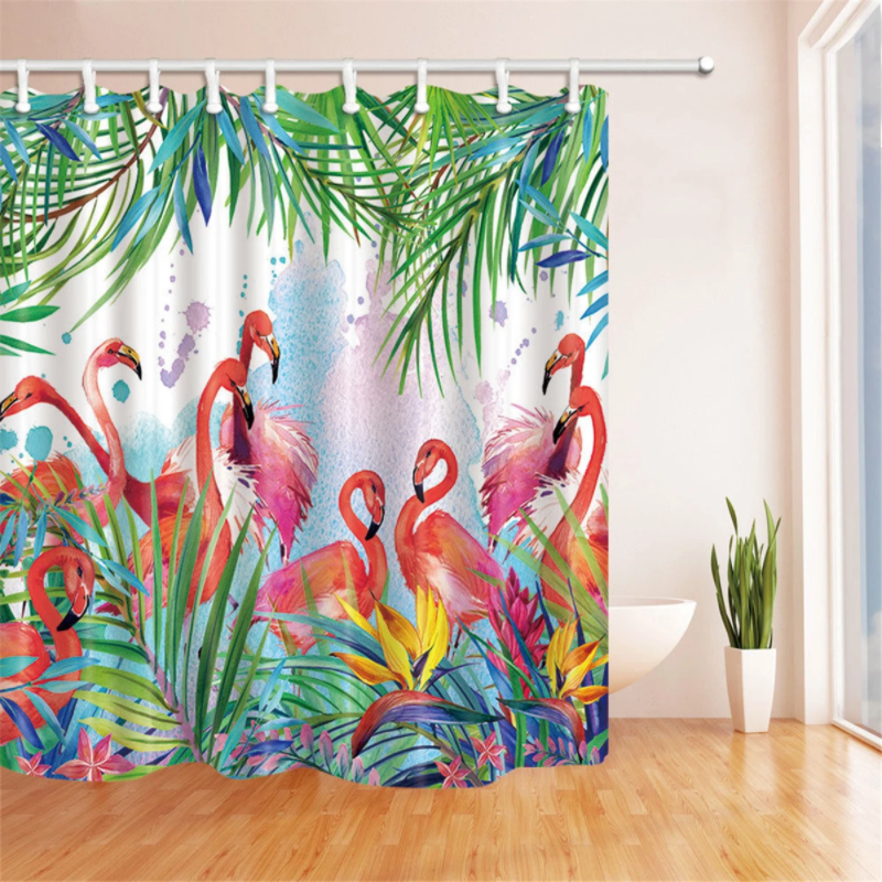 pink flamingo shower curtain