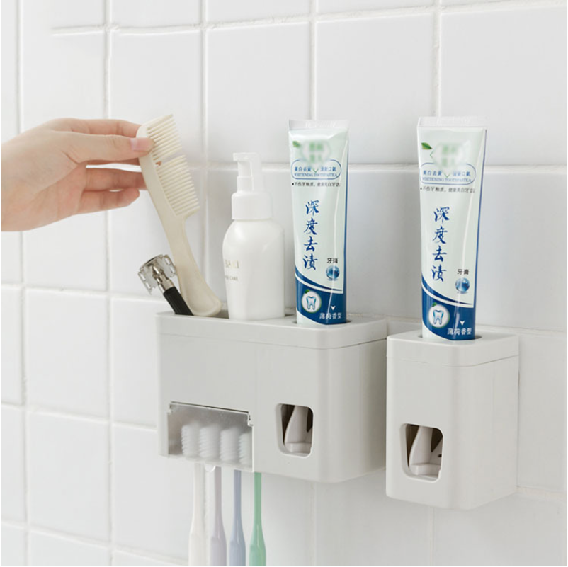 Honana Automatic Toothpaste Dispenser Squeezer For Toothpaste Holder 4 Toothbrushes Wall Mounted