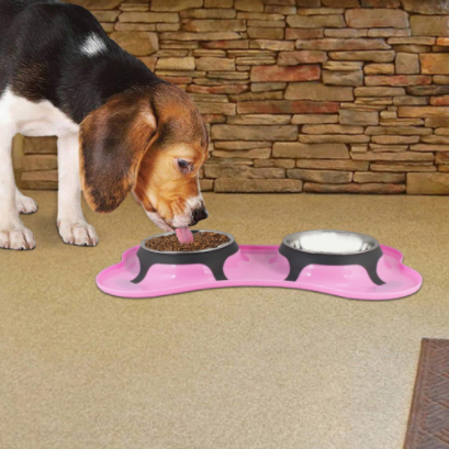 Boomer N Chaser Pink Dog & Cat Bowls Pet Bowl Stainless Steel Double Diner Food & Water Bowl