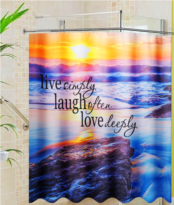 AKIYA™ Beach Shower Curtain Ocean Themed Waterproof