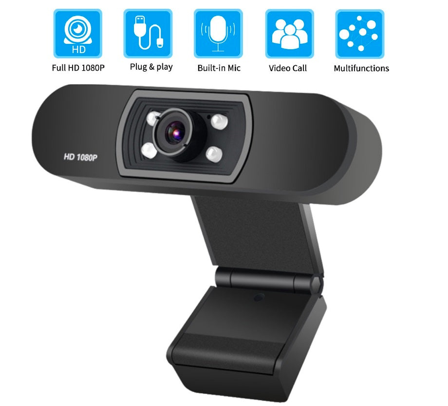 CAMZ™ Best Webcam 1080p Computer Camera For PC Laptop Computer Mac USB Microphone & Streaming