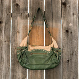 Bolero Genuine Leather Tan & Green Purse