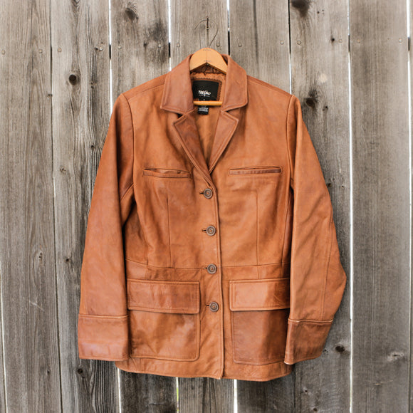 Mossimo Supply & Co. | Genuine Leather Blazer | Color: Carmel | Wome's Size Small