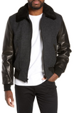 Mixed Media B-15 Flight Jacket with Genuine Shearling Collar