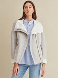 Asymmetrical Zip Faux Shearling Jacket
