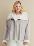 Plus Size Asymmetrical Zip Faux Shearling Jacket
