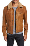 Vintage Buffalo Leather Trucker Jacket with Genuine Sheepskin Collar