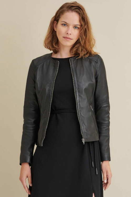 Leather Jacket with Side Stitching