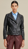 Asymmetrical Ribbed Leather Jacket