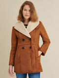 Double Breasted Faux Shearling Coat