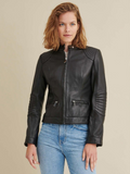 Leather Jacket with Quilted Shoulder