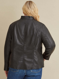 Plus Size Leather Scuba Jacket