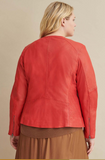 Plus Size Leather Jacket with Side Stitching