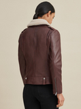 Francesca Shearling Collar Leather Jacket