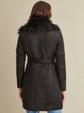 Veronica Belted Leather Faux Fur Coat