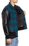 x Justin Timberlake Varsity Leather & Wool Trucker Jacket