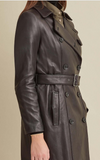 Double-Breasted Belted Leather Trench Coat