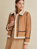Piped Faux Shearling Coat