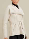 Faux-Shearling Asymmetric Belted Coat