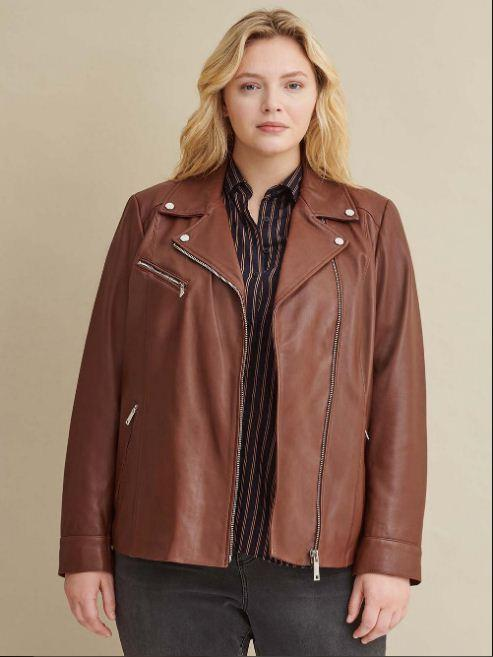 Plus Size Leather Jacket with Metallic Details