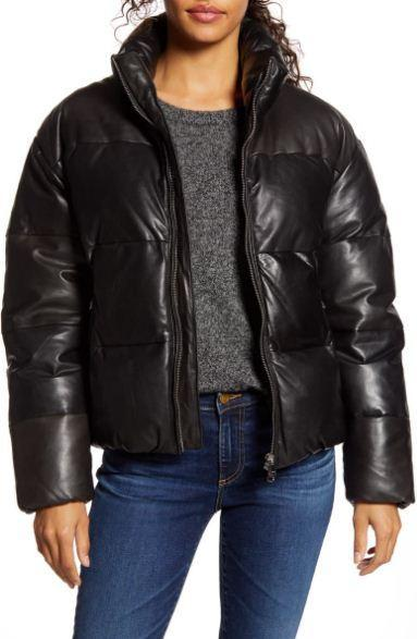 Iris Down Insulated Leather Puffer Jacket