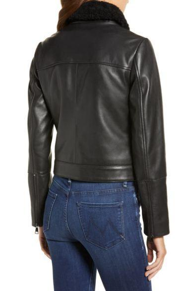 Genuine Shearling Collar Leather Jacket