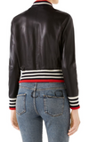 Bow Leather Bomber Jacket