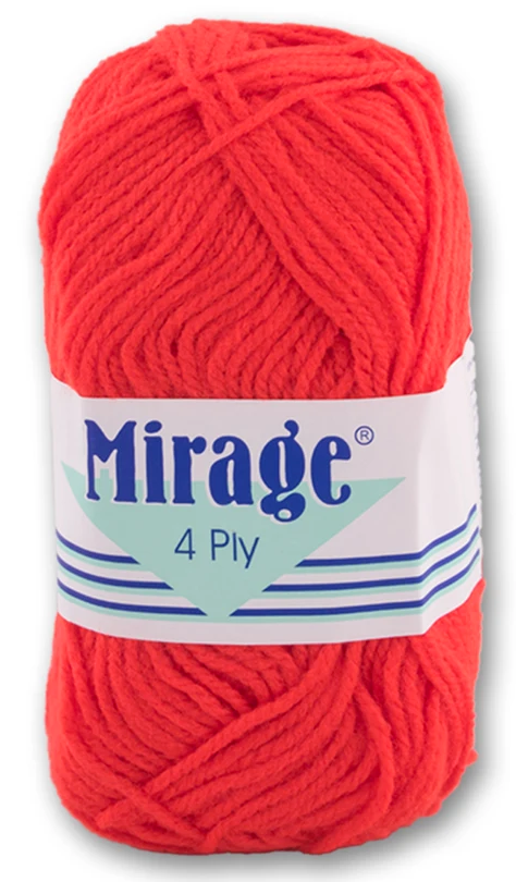 Mirage Wool - 4 Ply 25g (Red)
