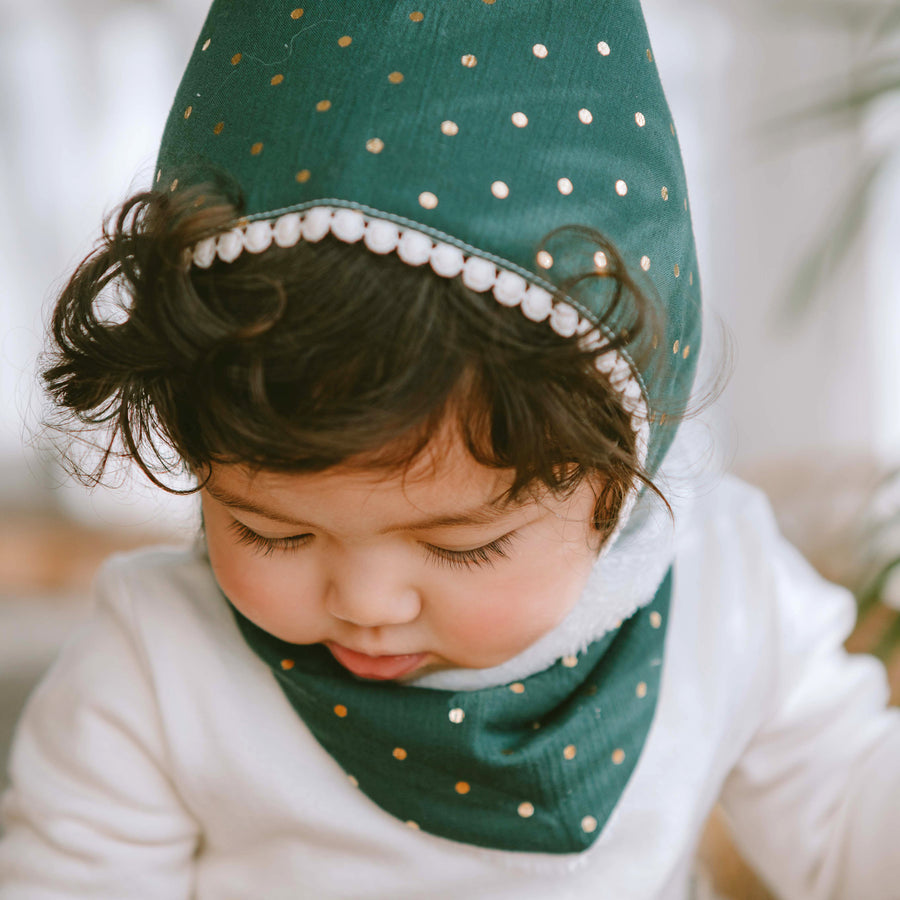 Winter Bib - Green Polka Dot