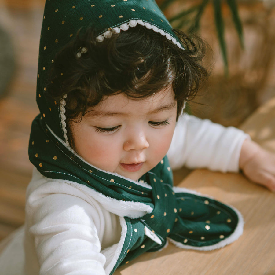 Winter Bandana - Green Polka Dot