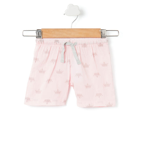 Baby pink crown printed girls shorts