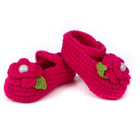 Hot Pink Crochet Baby booties (2-8 months)