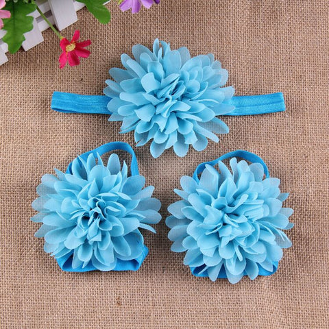 Full Bloom barefoot sandals and headband set - Azure