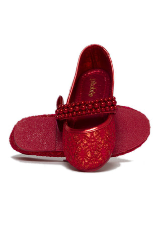 Pikaboo Essentials Red Pearly Mary Janes