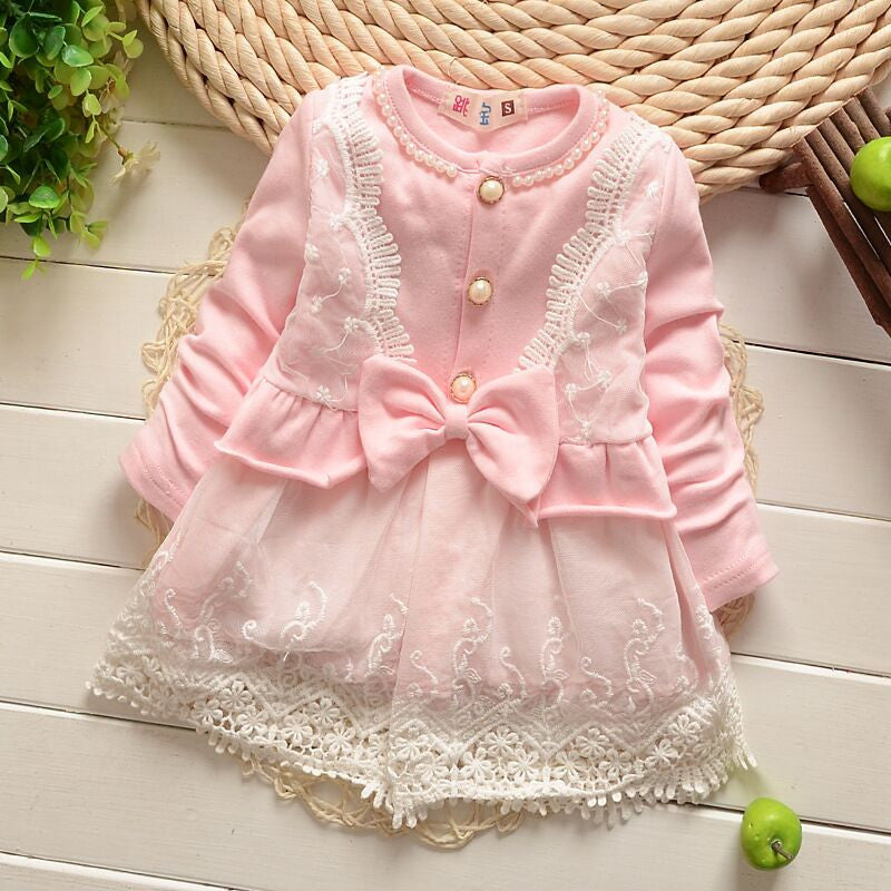Pearl and Lace Bow Dress - Baby Pink