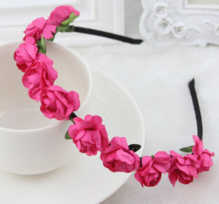 Fuchsia Roses flower garland hairband