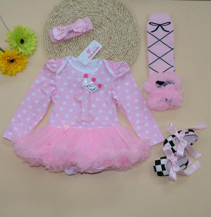 First birthday tutu romper with shoes, legwarmers and headband (0-1 year)