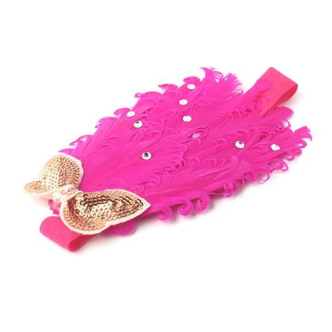 Luxurious Pink feather headband with a golden butterfly