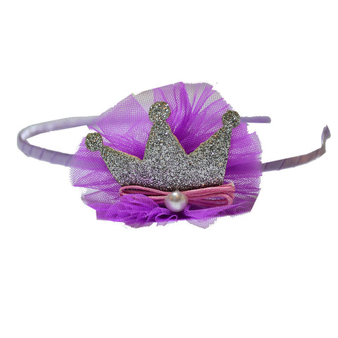 Crown With a Pearl Hairband - Purple