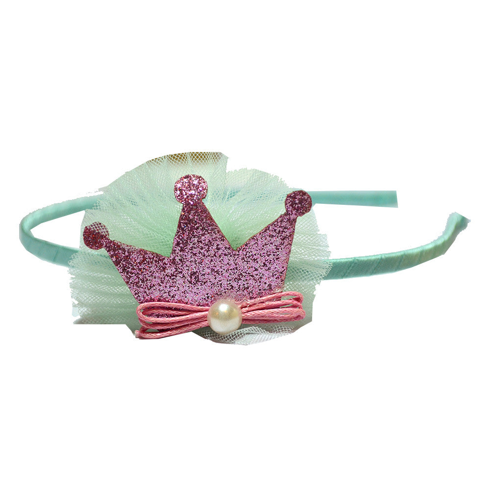 Crown With a Pearl Hairband - Blue