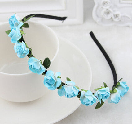 Sky Blue Roses flower garland hairband