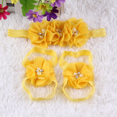 Crystal Flower Shoe Headband Combo- Yellow