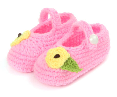 7a47d7cbb22 Button up Baby pink crochet shoes with leafy flower
