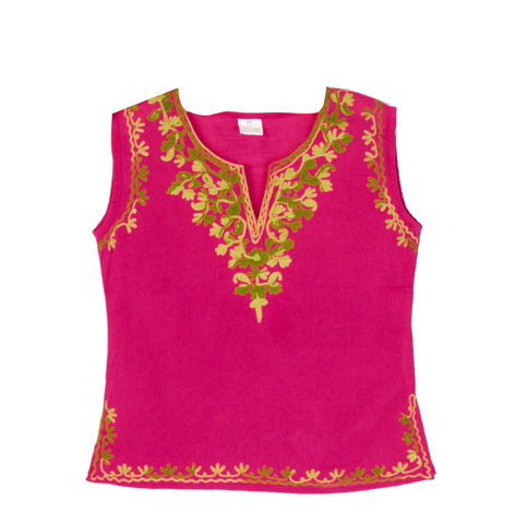 Fuchsia sleeveless Kurti with Green Embroidery