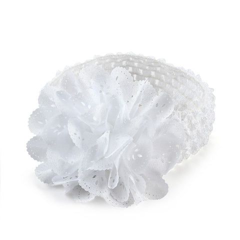 Crochet cutwork flower headband - White