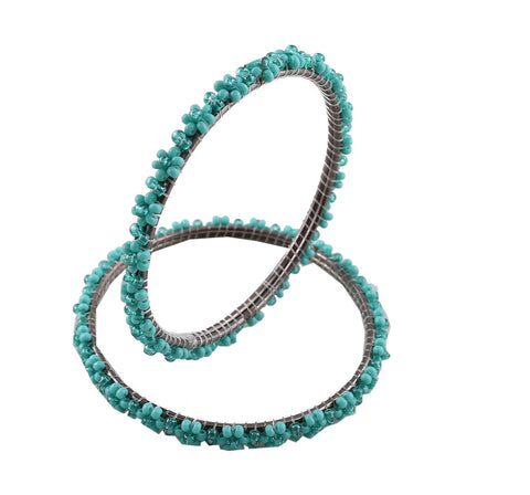 Ethnic Beaded Bangles - Blue