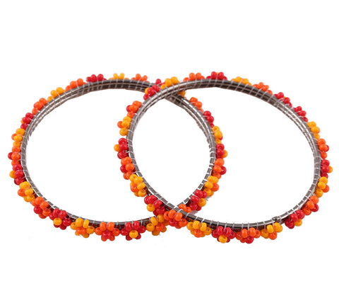 Ethnic Beaded Bangles - Orange n Red